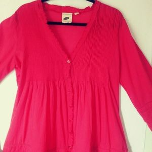 Anthropologie top red bell sleeve button up sz M